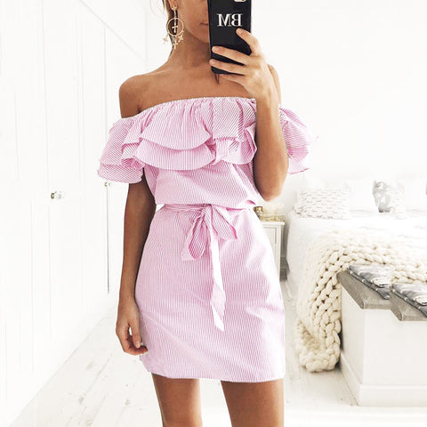 Off Shoulder Strapless Striped Ruffles Dress Women 2018 Summer Sundresses Beach Casual Shirt Short Mini Party Dresses Robe Femme-lilugal
