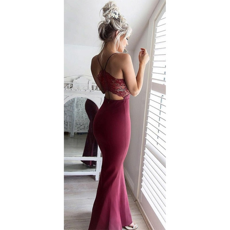 Ordifree 2018 Summer Elegant Women Long Party Dress White Red Halter Bodycon Sexy Maxi Dress Lace Evening Mermaid Dress-lilugal