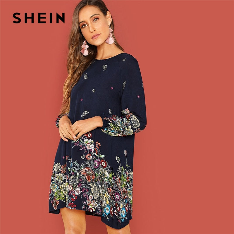 a2ae5e5da9 SHEIN Beach Contrast Lace Keyhole Back Floral Trapeze Round Neck Long Sleeve  Dress Autumn Modern Lady
