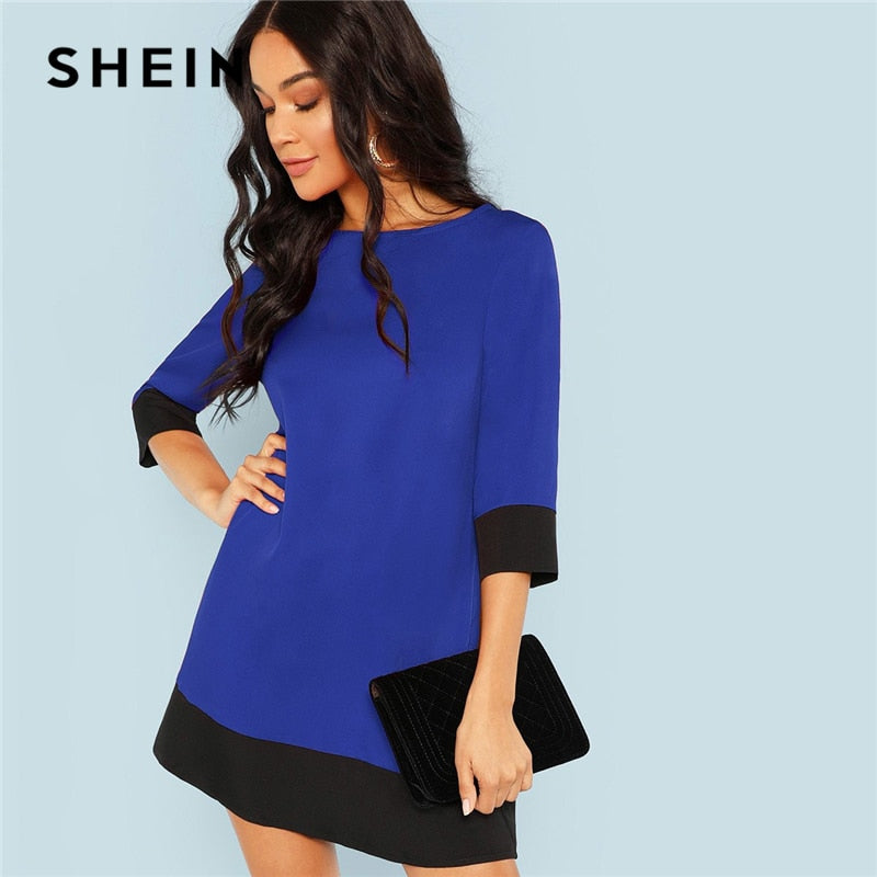 452b5fd45f8a SHEIN Blue Going Out Contrast Trim Tunic Three Quarter Length Sleeve Shift  Colorblock Dress Autumn Modern