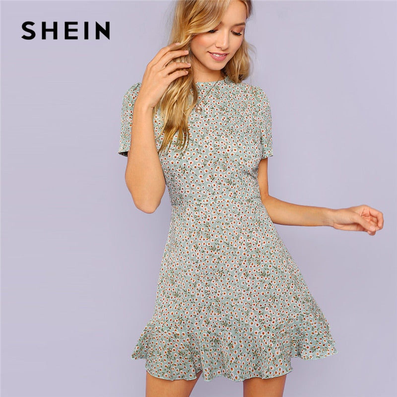 63798b92c8 SHEIN Multicolor Allover Floral Print Ruffle Hem Textured Dress Elegant  Casual Fit and Flare Dresses Women