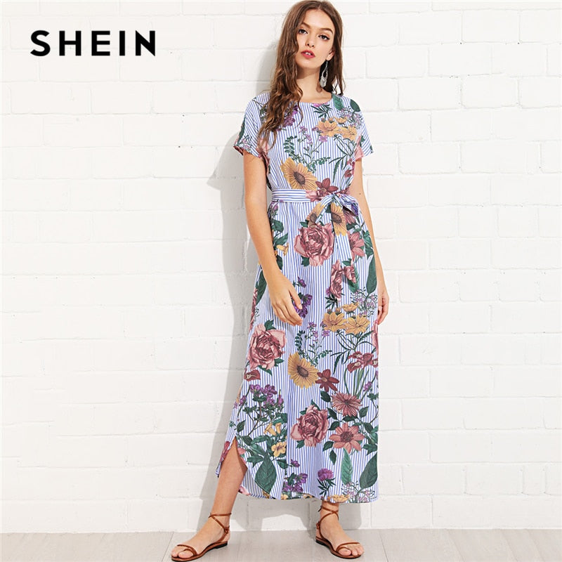 7dbadefbb8 SHEIN Multicolor Vacation Boho Bohemian Beach Floral And Striped Curved Hem  Belted Dress Summer Women Weekend