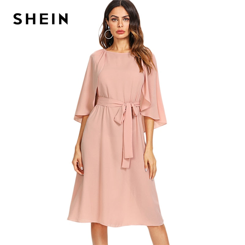 SHEIN Pink Elegant Cloak Sleeve Self Belted Knot Front Round Neck Natural Waist Knee Length Dress Summer Women Casual Dresses-lilugal