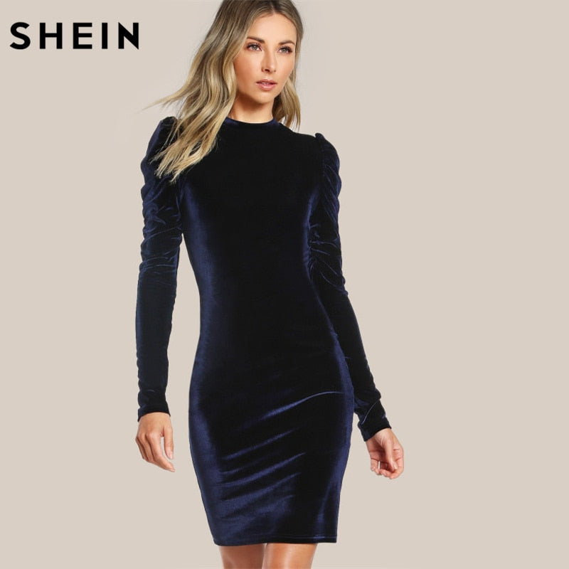 836223505c873 SHEIN Puff Sleeve Velvet Pencil Dress Womens Autumn Dresses Navy Long  Sleeve Knee Length Elegant Party Dresses