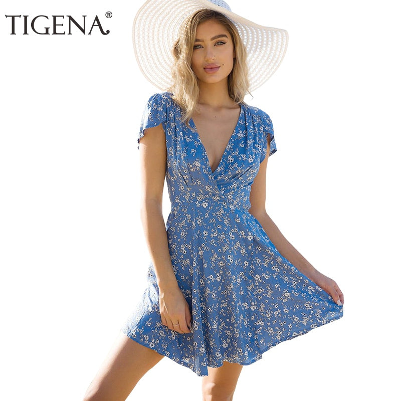 45bbbab69af TIGENA Floral Deep V-neck Wrap Summer Dress Women 2018 Summer Sundress  Casual Tunic Beach