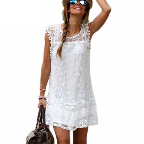 UZZDSS Summer Dress 2018 Women Casual Beach Short Dress Tassel Black White Mini Lace Dress Sexy Party Dresses Vestidos S-XXL-lilugal