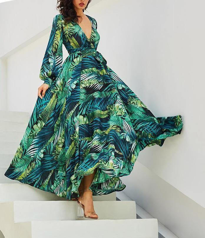 Vintacy Long Sleeve Dress Green Tropical Beach Vintage Maxi Dresses Boho Casual V Neck Belt Lace Up Tunic Draped Plus Size Dress-lilugal