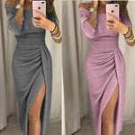 Voceelinda Autumn Winter Women Sexy Dress Off The Shoulder High Slit Bodycon Long Dress Long Sleeve Party Dress-lilugal