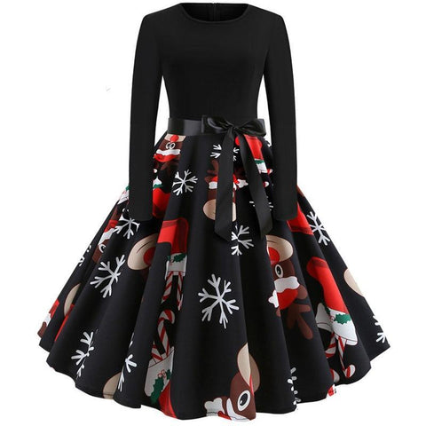 Winter Christmas Dresses Women 50S 60S Vintage Robe Swing Pinup Elegant Party Dress Long Sleeve Casual Plus Size Print Black-lilugal