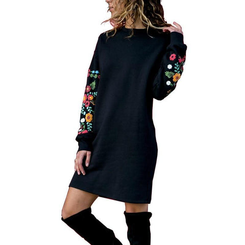 Y Nidus Dresses Women Winter Mini Dress Elegant Floral Print Long Sleeve O-Neck Loose Warm Dress Black Streeetwear vestido 2018-lilugal
