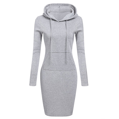 Zebery Autumn Winter Warm Sweatshirt Long-sleeved Dress 2018 Woman Clothing Hooded Collar Pocket Design Simple Woman Dress-lilugal