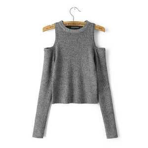 Sexy Women Off Shoulder Long Sleeve Knitted Sweater Solid Skinny Slim Sweater-lilugal