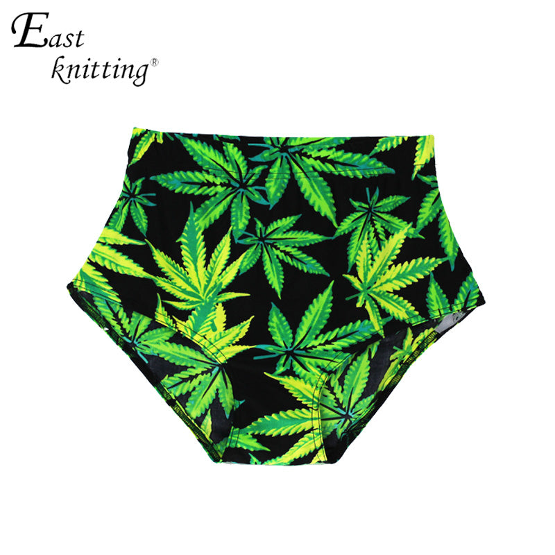 X-005 Ladies Green Maple Leaf Digital Print shorts High Waist Shorts-lilugal