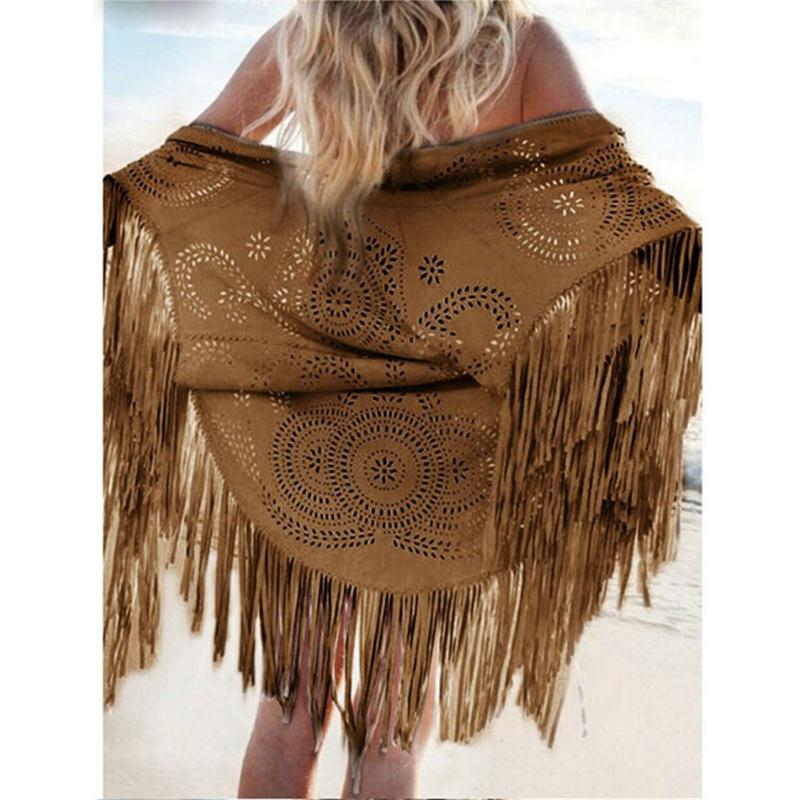 Women Casual Tippet Faux Suede Leather Cut Out Summer Beach Cover Up Kimono Long Fringes Tassels Thin Coat Cardigan Jacket C146-lilugal