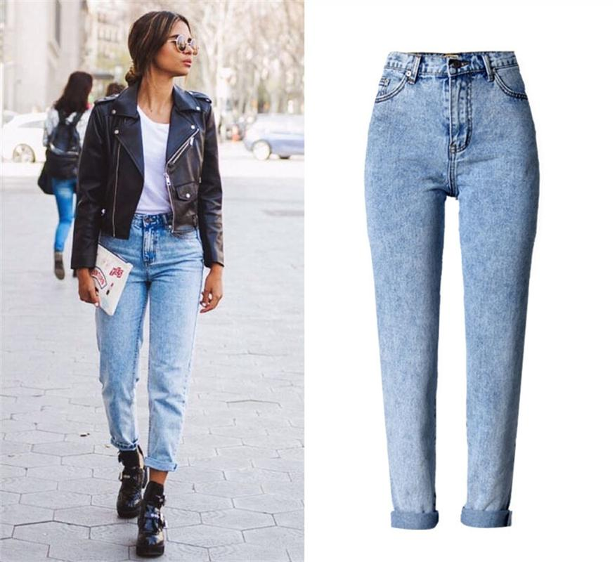Jeans woman high waist loose straight jeans trousers fashion blue jeans street Snowflake Plus Size Women's jeans-lilugal