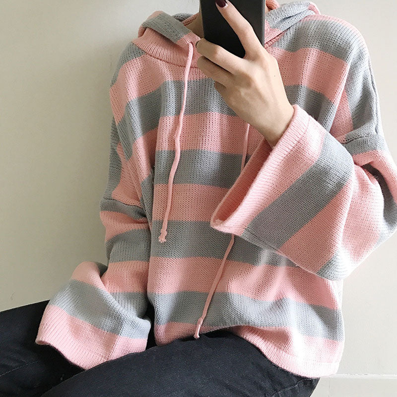 Women'S Kawaii Knitting Loose Short Design Cute Jumper Female Multicolour Stripe Hooded Korean Cardigan Sweater For Women-lilugal
