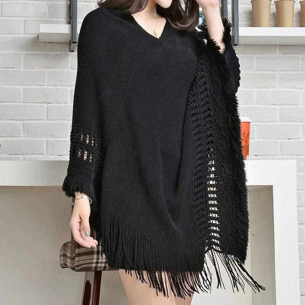 Women Knitted Shawl Tassel Sweater Oversized Cape Poncho Winter Autumn Loose Sweaters Pullover irregularity Cloak Tops 5 Color-lilugal