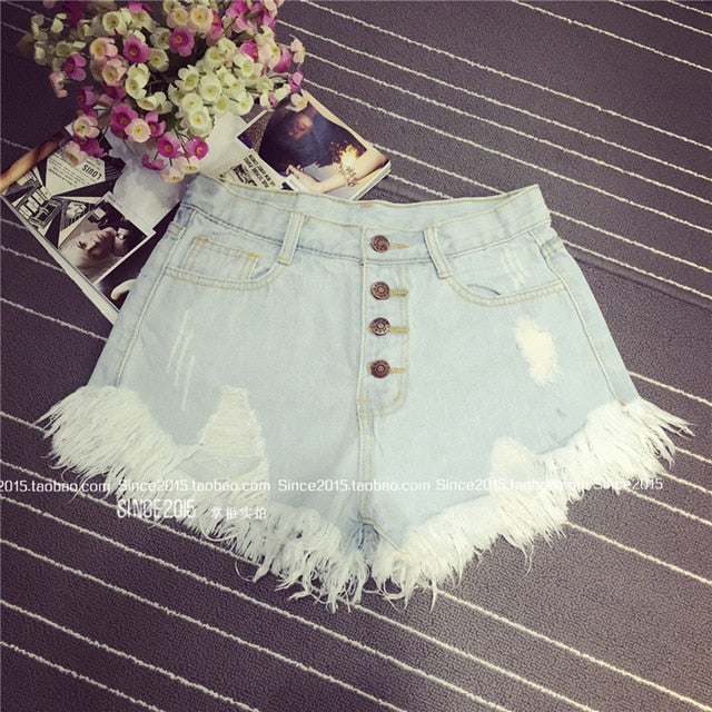 2016 European and American BF summer wind female blue high waist denim shorts women worn loose burr hole jeans shorts-lilugal