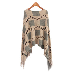 Autumn Women V Neck Batwing Plaid Fringed Stitching Irregular Tops Poncho Shawl Cape Hollow Sweater Blusas Femininas Clothes-lilugal
