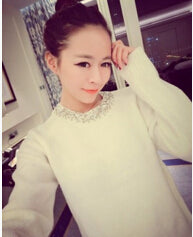 Korean Style Loose Knitted Women Sweater Beading O Neck Long Sleeve Female Thick Pullover Winter Novelty Mixture Woolen Warm-lilugal