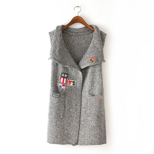 2016 New Style Fashion Woman Vest Outerwear Coat Elegant Appliques Long Cardigans Sweater With Pockets A3131-lilugal