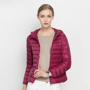 Winter Women Ultra Light Down Jacket 90% Duck Down Hooded Jackets Long Sleeve Warm Slim Coat Parka Female Solid Portabl Outwear-lilugal