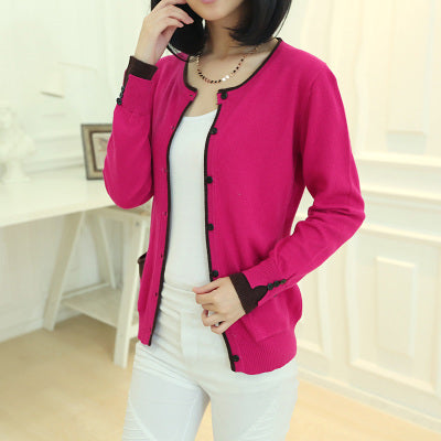 Spring and Autumn New round neck Cashmere Blending Sweaters knit Cardigan jacket Long sleeve collision color Slim Women Wool-lilugal