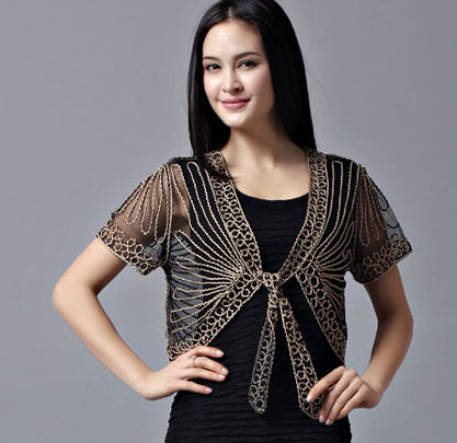 Free shipping All-match short-sleeve handmade crochet lacing women's shrug small cape cutout cardigan sweater-lilugal