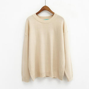 All Match Basic Style Loose Casual Fashion Solid O-neck Long Sleeve Female Sweaters-lilugal