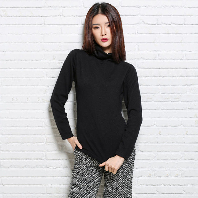 Women's Autumn Winter Fluffy Cashmere Blend Sweater Pile Heap Collar Long Sleeve Knitted Pullovers Pulls Knitwear Tops Jersey-lilugal
