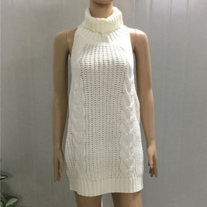 2017 Summer New Turtleneck Sleeveless Long Virgin Killer Sweater Japanes Knitted Sexy backless Women Sweaters And Pullovers WM03-lilugal