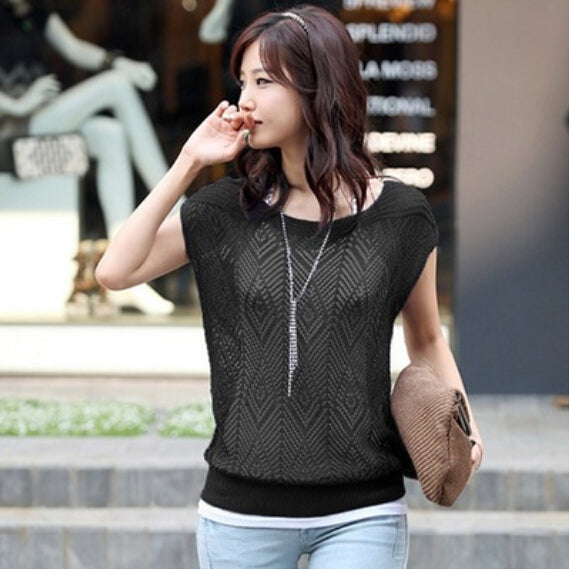 2016 Spring summer New Hot Korean loose Women sweaters Bat Hollow jumper blouse short sleeve coat Lady thin knit sweaters female-lilugal