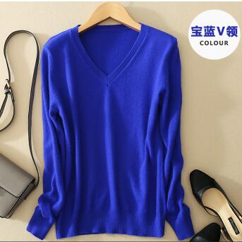 Sweater V Neck Women Fashion Autumn Cashmere Kint Sweater V Neck Solid Slim Sexy Pullovers Coat Female Blouse Knit Sweater-lilugal