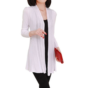 Women long Knitted Cardigan Female long Sleeve Sunscreen Cape Air Conditioning Sweater 9 Colors-lilugal