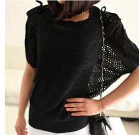 2016 summer new arrival strapless short-sleeved blouse ladies bat sleeve loose big yards hollow knit sweater coat jacket-lilugal