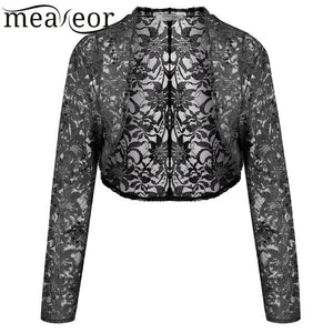 Meaneor Brand Knit Bolero Shrug Women Casual 3/4 Sleeve Lace Floral Light Crop Open Stitch Cardigan Short All-match Shawl Wrap-lilugal