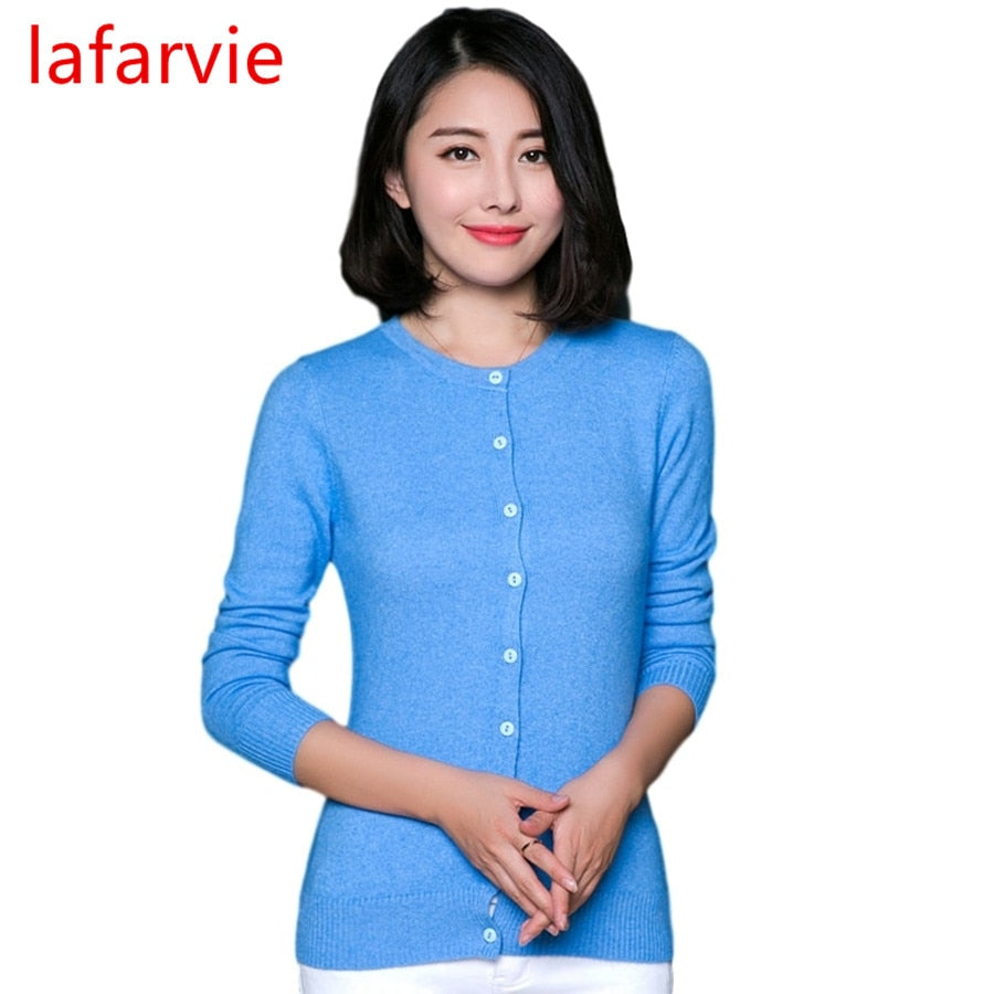 Lafarvie Hot Sale Quality Cashmere Blend Cardigan Sweater Women Full Sleeve O-neck Slim Single-breasted Brand Pull Female Jumper-lilugal