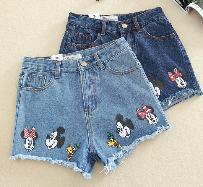 2017 Summer Women's Casual Student High Waist Short Shorts Cartoon Print Mickey Light Blue Sanding Denim Shorts Back Hole-lilugal