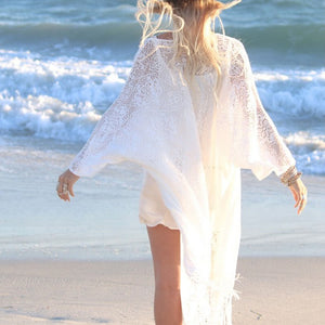Boho Women Fringe Lace kimono cardigan White Tassels Beach Cover Up Cape Tops Blouses s72-lilugal