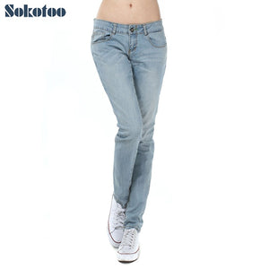 Sokotoo Women's casual big size light blue jeans All match stretch denim pants Long trousers for big and tall-lilugal