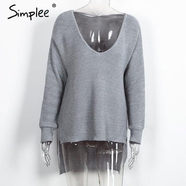 Simplee Sexy v neck split knitted sweater Women black long sleeve pullovers knitwear Autumn winter white jumper pull femme 2016-lilugal
