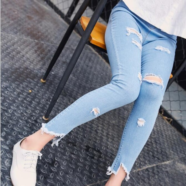 BIVIGAOS Women 7 holes ripped unedged skinny jeans for women slim jean ankle leggings jeggings spendex denim pencil pants mallas-lilugal