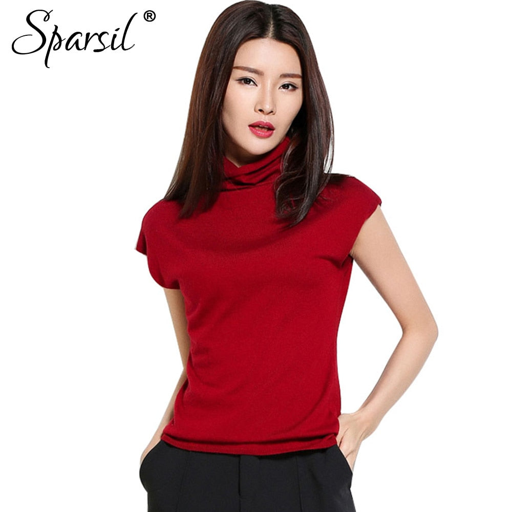 Sparsil Women's Summer New Ruffled Collar Sweaters Short Sleeve Knitted Shirt Fashion Daily Life Knitwear-lilugal