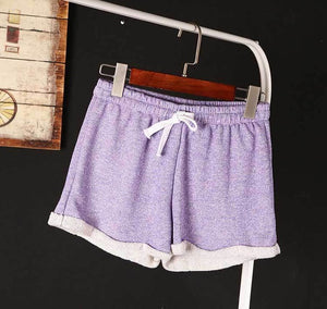 BIVIGAOS Womens Summer Casual Loose Shorts Drawstring Wide Leg Short Polyester Terry Shorts Feminino Home Comfy Shorts For Women-lilugal