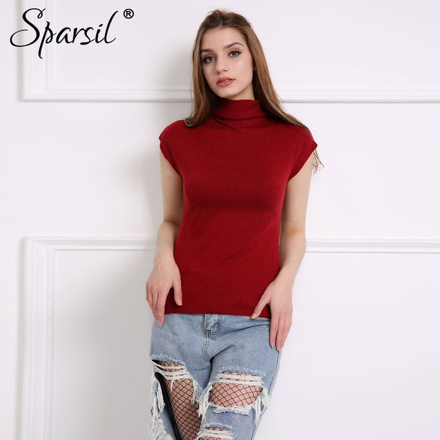 Sparsil Women Spring Cotton Blend Sweater Ruffled Collar Pullover Soft Comfortable Casual Knitted Clothes-lilugal