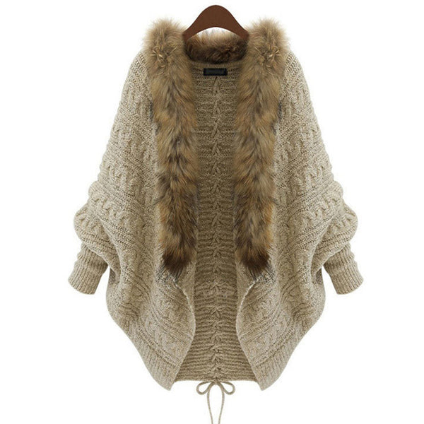 Women Cardigan Sweater Thick Poncho Capes Femme Autumn Winter Bat Sleeve Fur Collar Wool Sweater Knitted Long Cardigan 50-lilugal