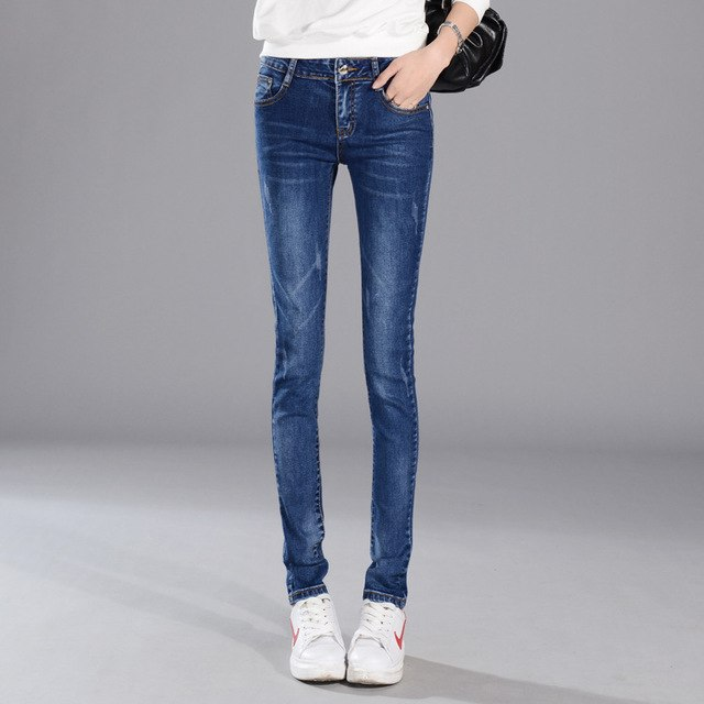 Boyfriend Jeans For Women Hot Sale New 2016 Summer Students All-match Jeans Female Feet Pencil Pants Stretch Slim Han Banchao-lilugal