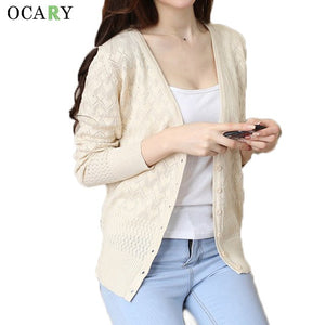 Classic Single Breasted Women Cardigans Long Hollow Out Spring Summer Sweater Mujer Casual Ldies Tops Gilet Manche Longue-lilugal