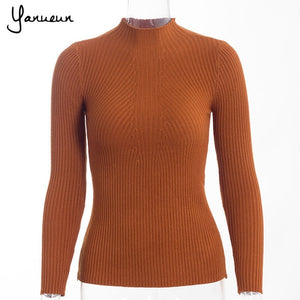 Yanueun Korean Fashion Women Pullovers Turtleneck Knit Shirt Long Sleeve Stretched Solid Sweater Tops 2016 Fall Winter Jumper-lilugal