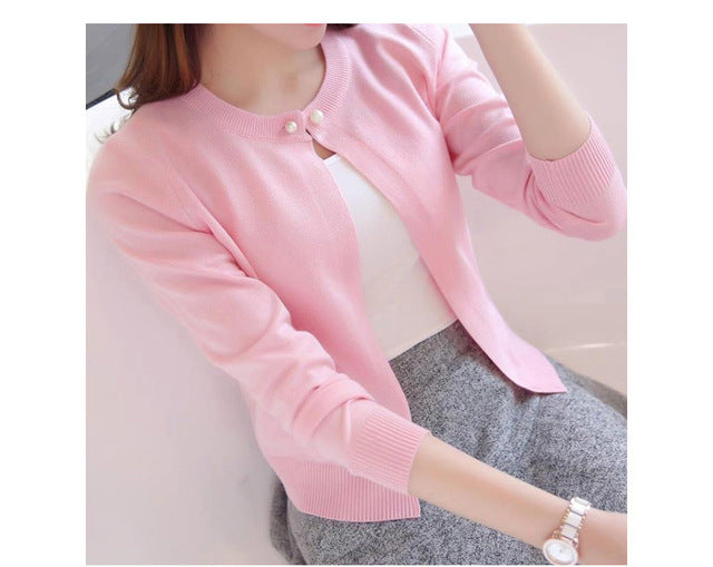 Fashion Knitting Cardigan Short Thin Coat Spring And Summer New Women Long-Sleeved Sold Color Sweater Cardigans Female Clothings-lilugal